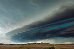 overcast landscape montana clouds road plains storm