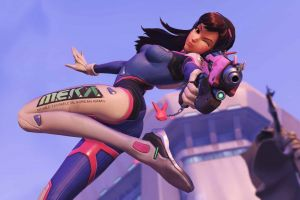 overwatch smiling blizzard entertainment long hair video games d.va (overwatch) looking at viewer brunette