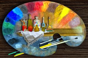 paintbrushes oil painting colorful