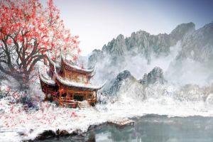 painting landscape trees asia