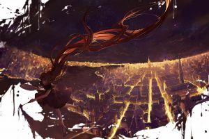 painting sky city original characters anime girls