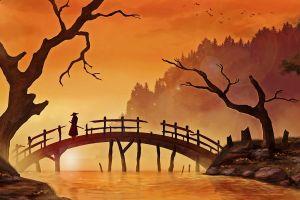 painting water forest digital art wood grass trees samurai hills nature birds river sunlight katana men