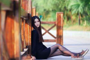 pale tights dark eyes women outdoors black dress asian dark hair dress black pantyhose