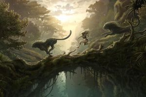 panthers forest landscape fantasy art lion jungle