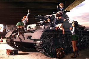 panzer iv isuzu hana anime girls nishizumi miho reizei mako akiyama yukari takebe saori girls und panzer school uniform