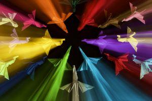 paper cranes colorful birds light trails blurred digital art origami warm colors