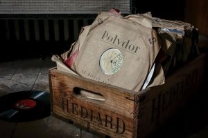 paper french vinyl vintage boxes music abandoned dirt wood dust