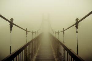 pathway suspension bridge bridge mist sepia