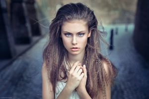 pearl necklace photography blue eyes women model portrait brunette face