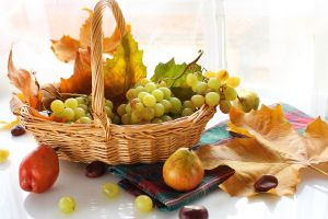 pears leaves grapes baskets food fruit