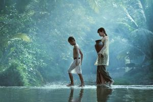 peasants nature people pond asian jungle