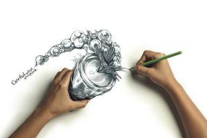 pencils artwork digital art hands drawing