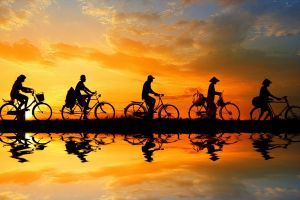people nature vehicle bicycle reflection sky asia
