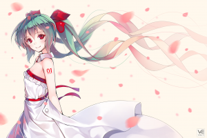 petals bare shoulders green hair tattoo dress bangs anime girls white dress vocaloid smiling hatsune miku long hair hair ornament ribbon twintails