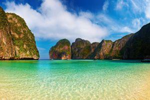 phi phi islands cliff sea beach mountains bay thailand