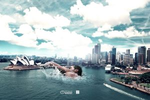 photo manipulation digital art men sydney opera house australia sky sydney