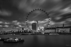photography monochrome ferris wheel sky cityscape river