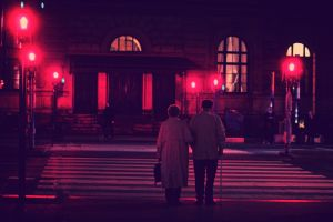 photography old people red building night couple lights street street light urban city