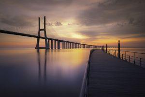 photography sea calm bridge sunset horizon pier