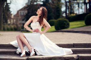 photography sitting 500px women model women outdoors legs lods franck bare shoulders park wedding dress white dress