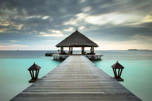 pier pavilion sea tropical