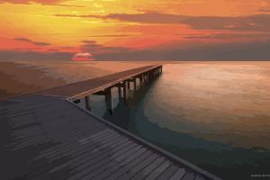 pier sea vector sunset