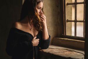 pierced nose brunette face bare shoulders long hair wavy hair women looking away model