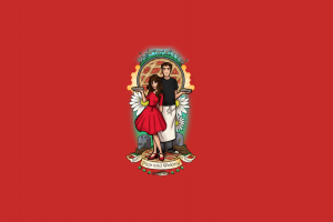 pies artwork red background