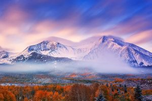 pine trees long exposure clouds mountains landscape nature snow forest mist sunset fall trees snowy peak