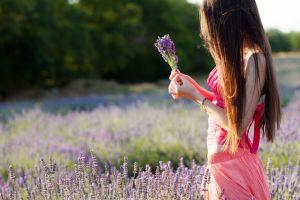 pink flowers brunette long hair women outdoors lavender