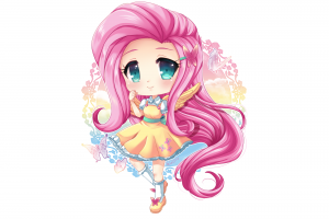 pink hair fluttershy anime girls long hair blue eyes