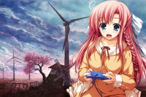 pink hair windmill anime cherry blossom braids controller anime girls controllers wind turbine open mouth
