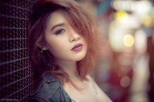 pink lipstick women hair in face blue eyes asian redhead face