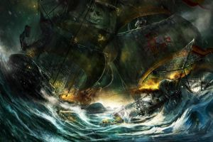 pirates ship storm