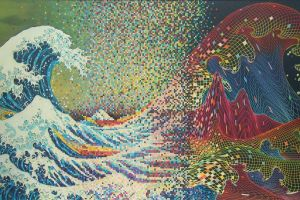 pixel art digital art traditional art waves