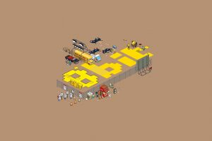 pixels isometric artwork 8-bit
