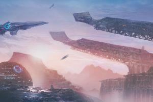 planet artwork vehicle futuristic science fiction