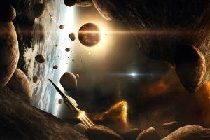 planet cgi spaceship space asteroid stars render