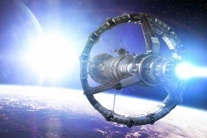 planet digital art spaceship artwork fantasy art space stars