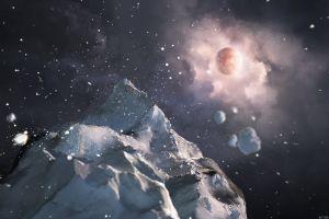 planet ice space art space digital art