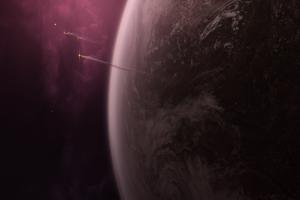 planet rocket space art