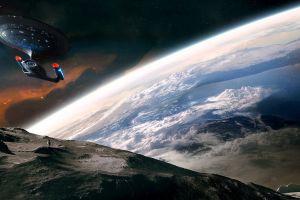 planet spaceship dual monitors space multiple display star trek