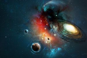 planet spiral galaxy universe space digital art lines galaxy text