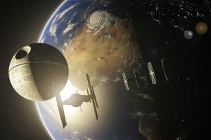 planet star wars earth space tie fighter death star
