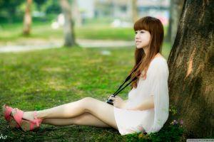 platform shoes brunette asian white dress long hair minidress smiling women chingcho profile women outdoors