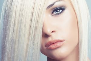 platinum blonde face women blue eyes