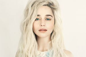 platinum blonde wavy hair emilia clarke women simple background open mouth blue eyes long hair looking at viewer actress face
