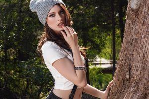 playboy plus women playmate wool cap model caitlin mcswain playboy hat women outdoors finger on lips brunette