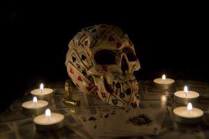 playing cards artwork candles dark skull fantasy art ammunition