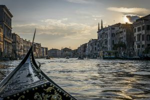 point of view dusk gondolas canal venice